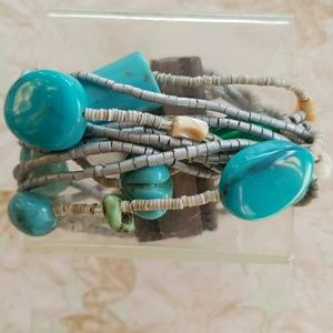 Jewelry - Natural Turquoise,  shell and bead chunky bracelet